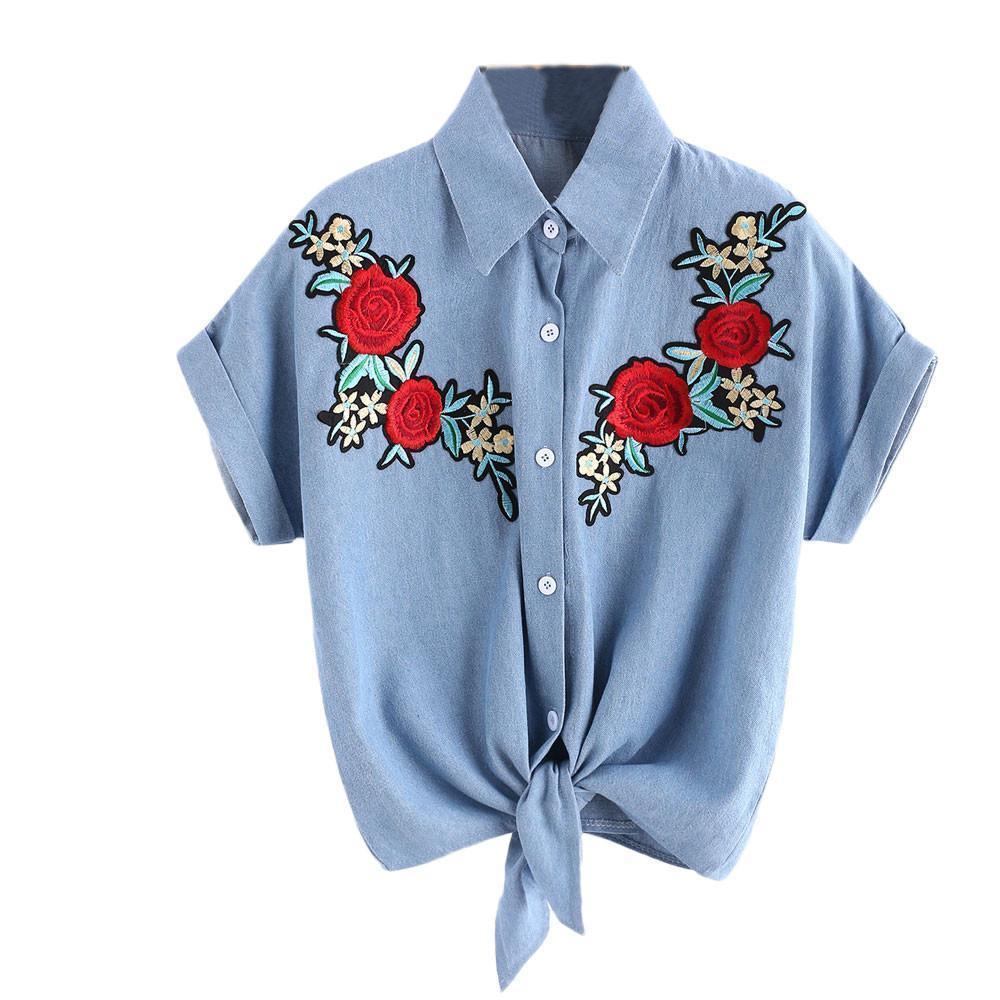 fc8628c5bbe75 Compre Nueva Camiseta De Moda Para Mujer Camiseta Corta Para Mujer Flor De  Rose Camisa De Manga Corta Camiseta Para Mujer Nudo De Arco Camisetas Mujer  ...