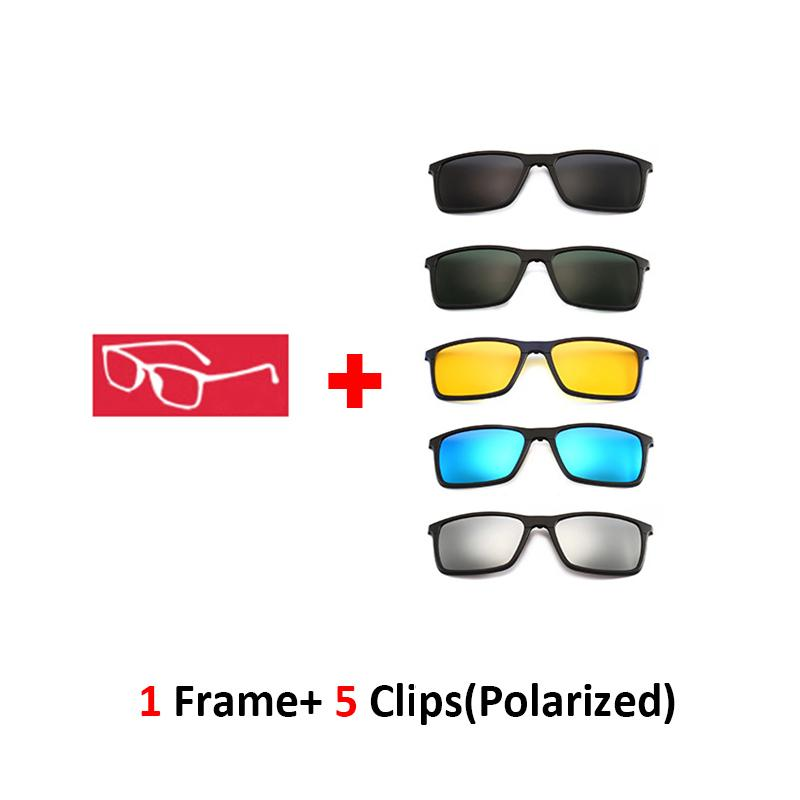 cebbcdbacc Compre Cuadrado Óptico Marco De Espectáculo Hombres Mujeres Con 5 Clip En  Gafas De Sol Gafas Magnéticas Polarizadas Para Miopía Masculina Gafas 8806  A ...