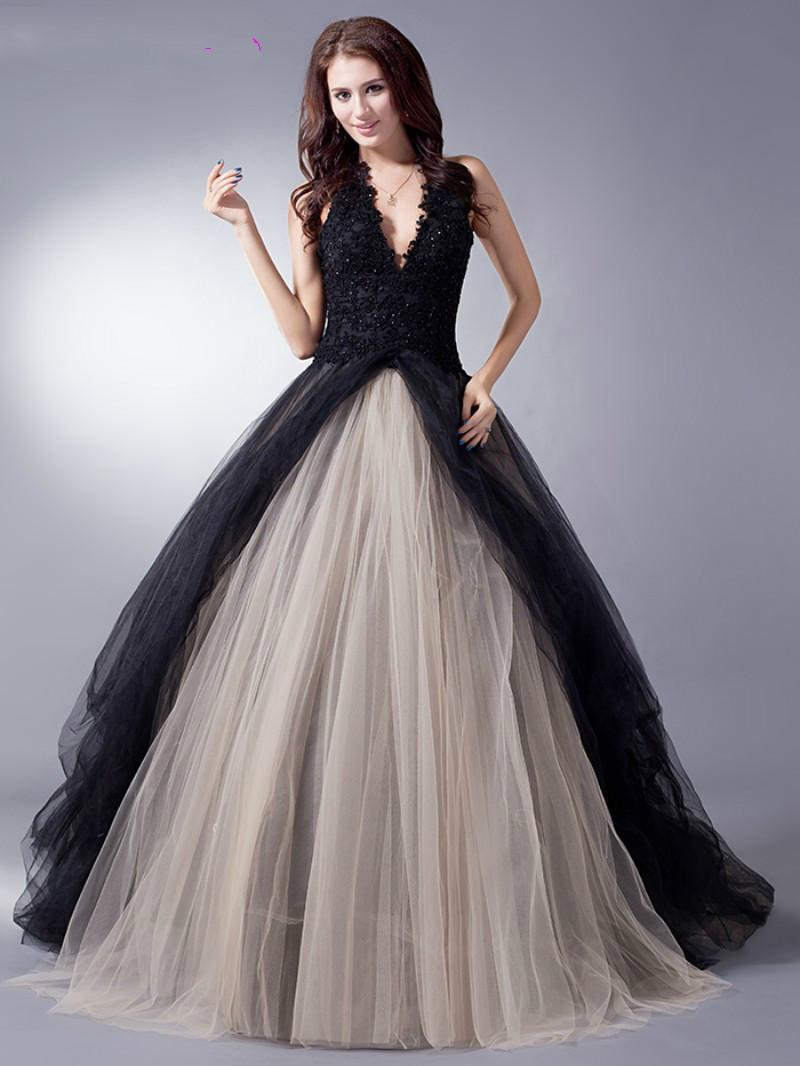 Discount Black Nude Colorful Tulle Gothic Wedding Dresses With Color