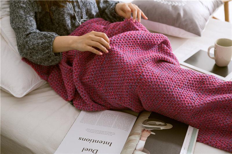 THYEFOUND أزياء سوبر اليد الناعمة الكروشيه حورية البحر ذيل غطاء صوفا غطاء البالغ طفل DIY 3 الحجم