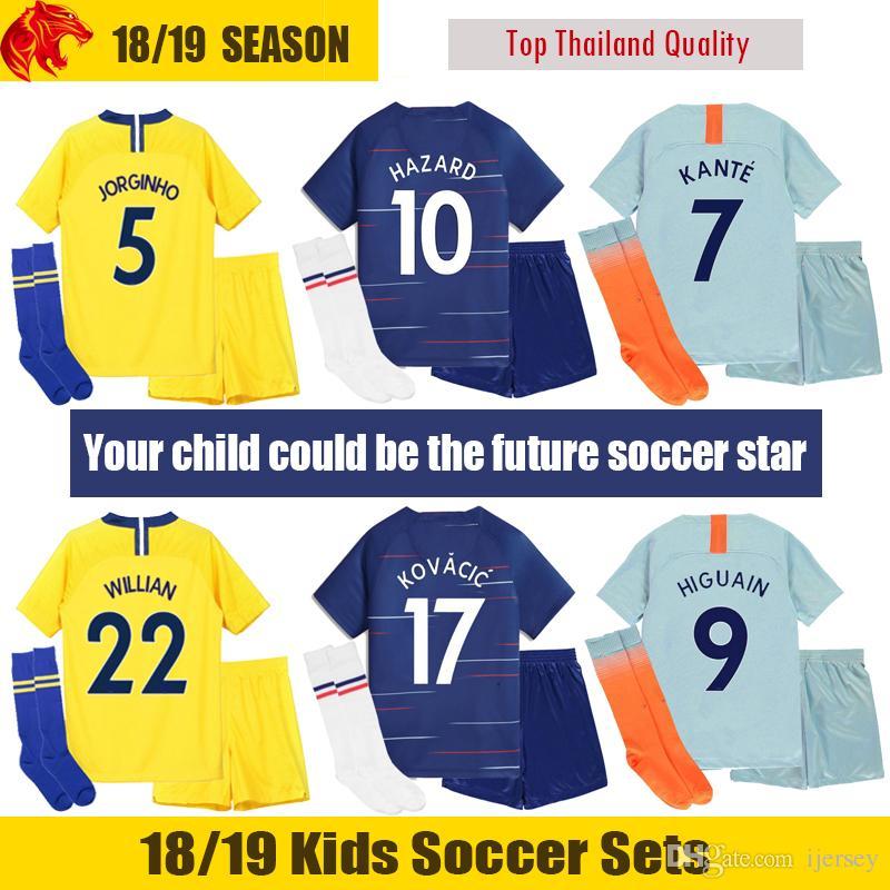 Compre 18 19 Chelsea Niños Camiseta De Fútbol 2018 2019 KOVACIC Chelsea  HAZARD Niños Kit GIROUD Chelsea HIGUAIN Niños Uniforme De Fútbol PEDRO  Conjuntos De ... 92e700a5f8c37
