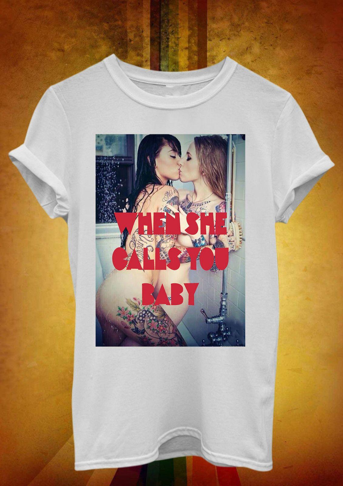 check out cc2ed aebfb Wenn Sie Sie Baby Lesbian Coole Männer Frauen Unisex T Shirt Top Weste  kurze Ärmel neue Mode T-Shirt Männer Kleidung