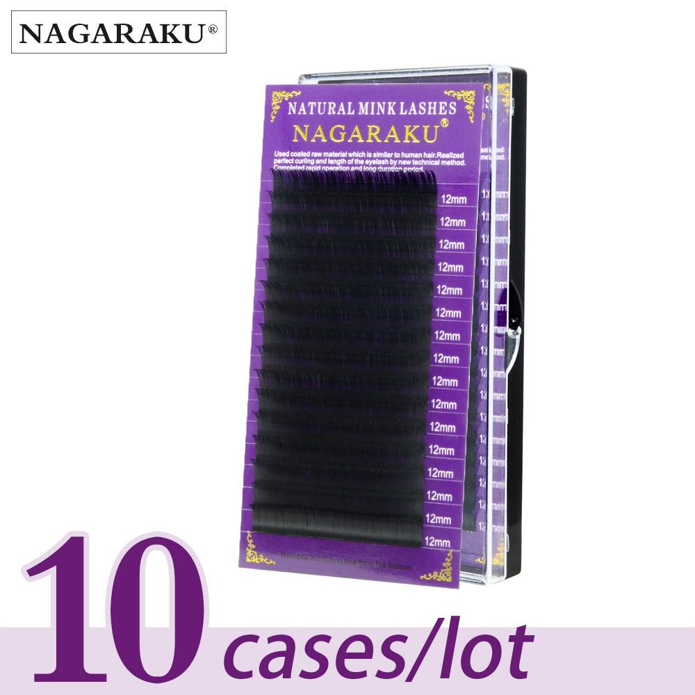Nagaraku Mink Eyelash Extension 10 Cases/Lot High Quality Individual Eyelashes Natural Eyelashes Make Up Fake False Eyelashes