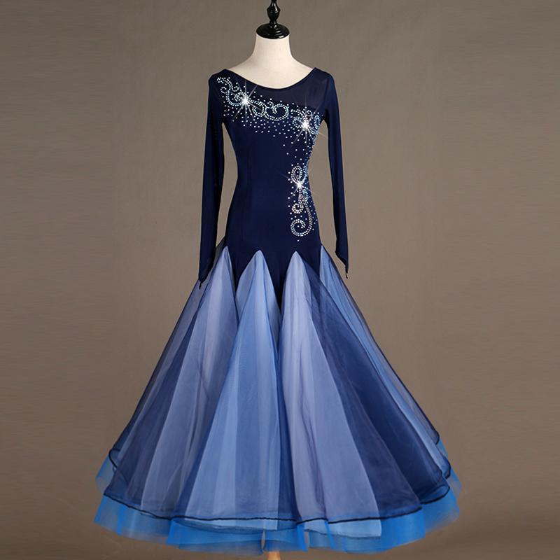 bue long ballroom dress standard ballroom tango dresses plus size dance  costumes dance dresses for sale