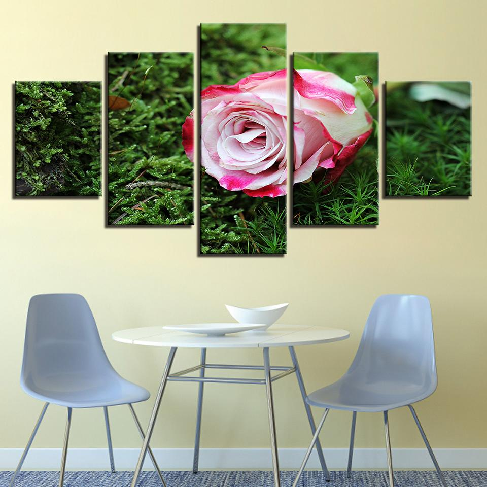2019 Home Decor Hd Print Canvas Poster Framework Pink Rose Green