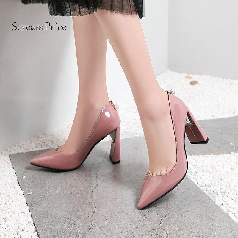 9ab903e03 Compre Senhoras De Salto Alto Quadrado Dedo Apontado Mulher Bombas De Couro  Envernizado Moda Rasa Vestido Sapatos Mulher Preto Vermelho Rosa Branco De  ...