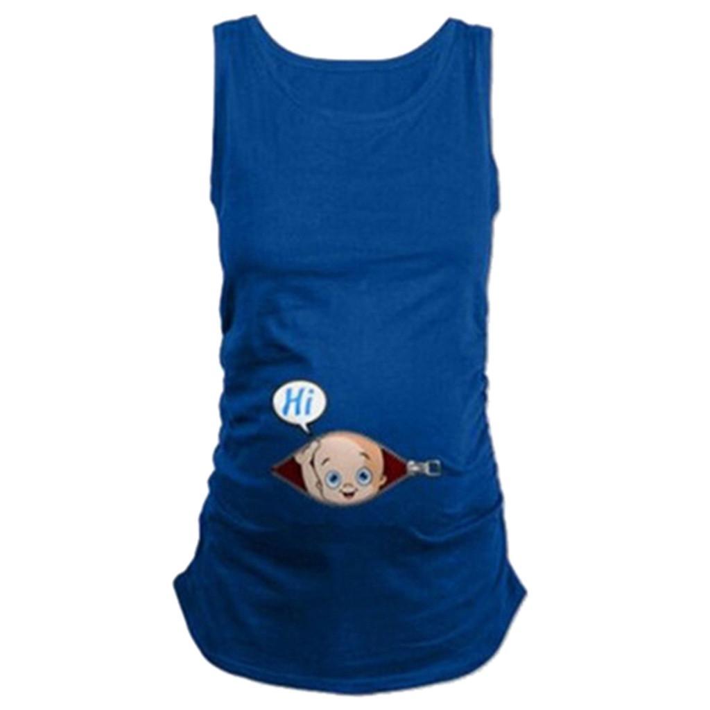 d38fae17d Compre Embarazada Lindo Niño Patrón Chaleco De Maternidad Camisa Sin Mangas  Camiseta Tops Embarazadas Ropa Premama Embarazadas Más El Tamaño Para Mujer  De ...