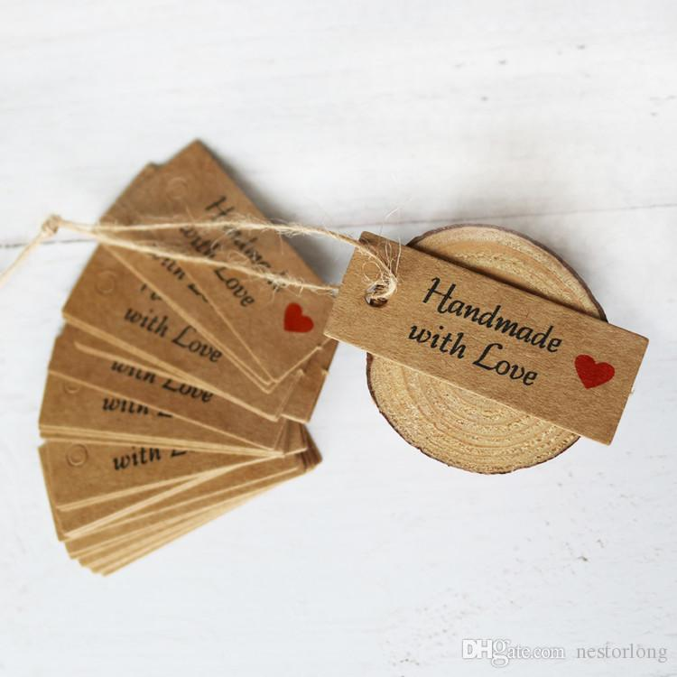 fe0be1fe04e7 100pcs Kraft Paper Tags Handmade with Love Garment Tags Wedding Party  Decoration Heart Gift Paper Hang Tags Packing Label Cards