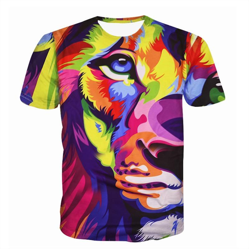 9b1dd355bc37 Raisevern New 3d T Shirt Tops Animals Lion King Painting Print T Shirt  Casual Short Sleeve Tops Tees For Men Women Dropship Cute T Shirts Nerd T  Shirts From ...
