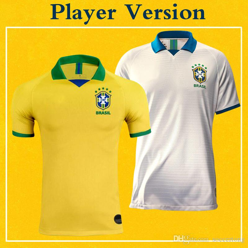 4944df9f97a 2019 Player Version Brazil Jerseys 2019 Copa America Soccer Shirt Home  Yellow 100th Anniversary Edition White FIRMINO Brazilian Team Uniform From  Soccertong ...