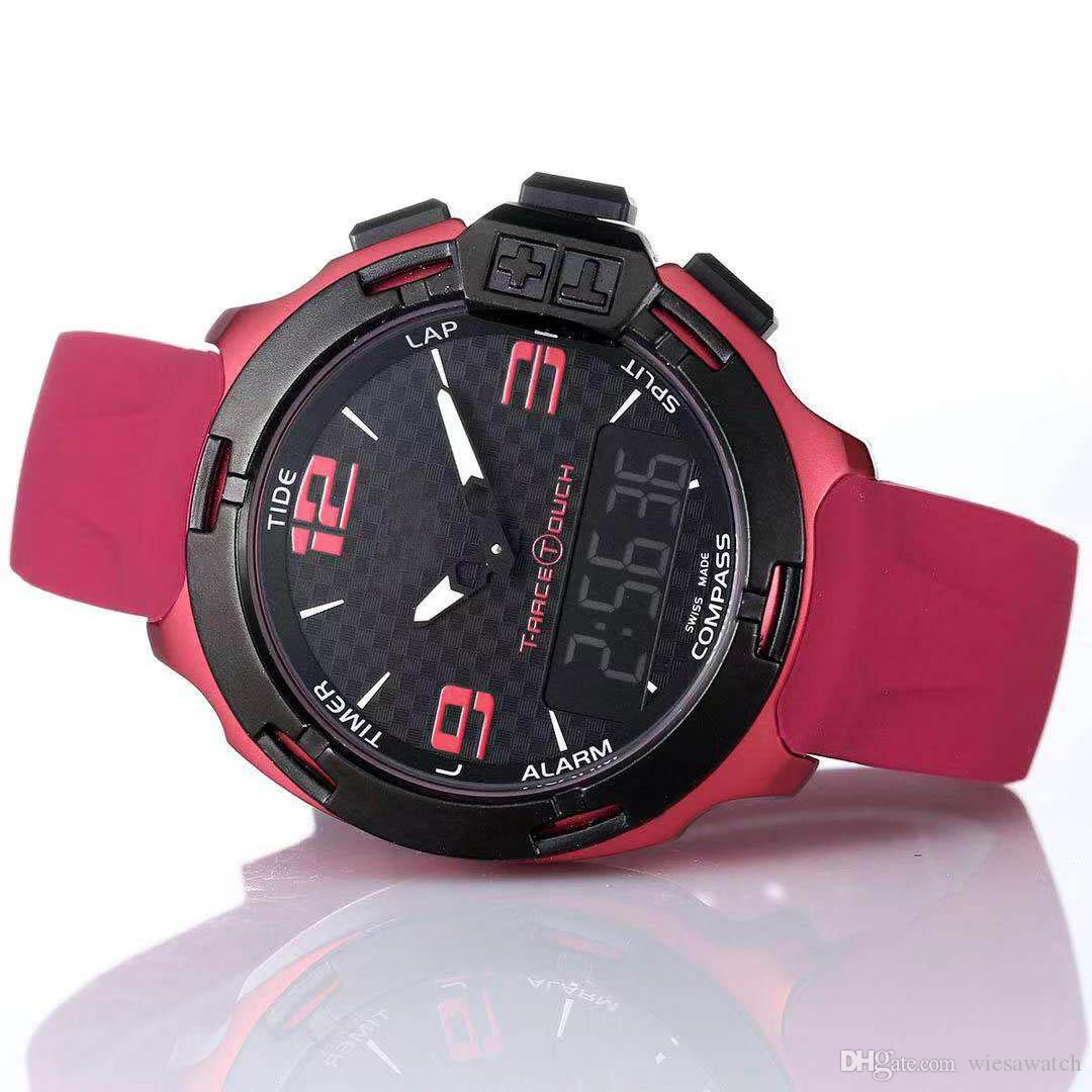 T Race Touch T081 Screen Altimeter Compass Chrono Quartz Rubber Strap Deployment Clasp Purple Watch Wristwatches Mens Watches