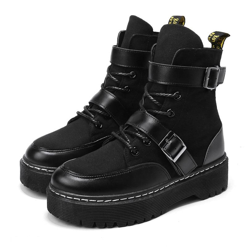 e55e06270b7 Motorcycle Boots Martin Boot PU Leather Patchwork Canvas Platform Boots  Lace Up With Buckle Fashion Thick Soled High Heel Shoes Wellies Boots For  Women From ...
