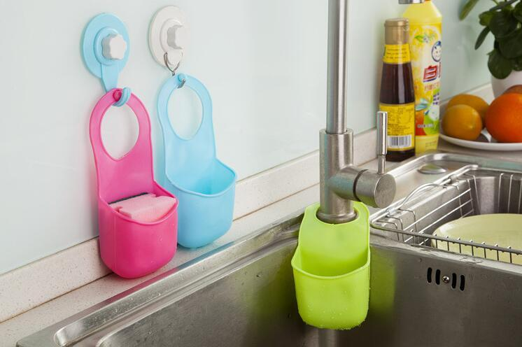 Creative sink hanging basket Pvc Mini Bathroom Hasp Hook Shelves Soap Holder Kitchen Dish Cloth Sponge Holder Storage