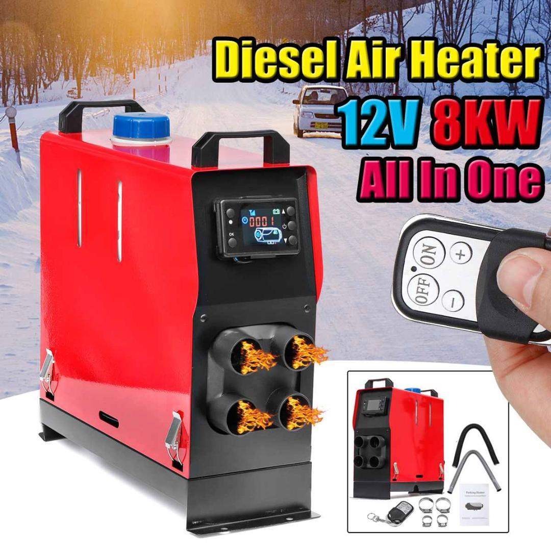 All In One Car Heater 12V 8KW Air Diesels Heater LCD Minotor Car Parking  Remote Thermostat Control For RV Tailer Trucks