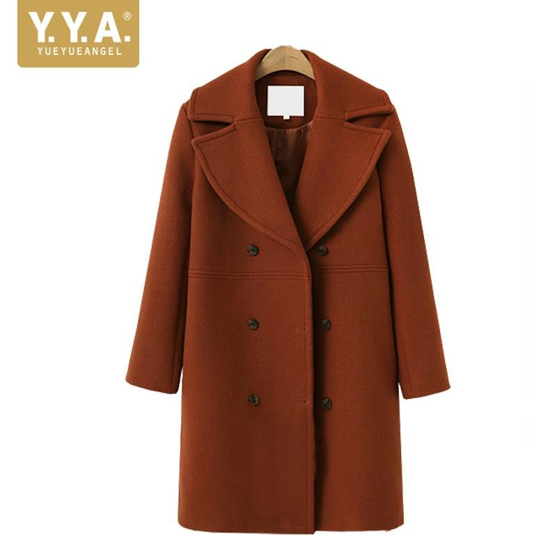 9446c10bc4 2019 2018 New Autumn Winter Ladies Woolen Coats Fashion Solid Long Sleeve  Outerwear Female Elegant Slim Fit Double Breasted Coat From Xianfeiyu, ...