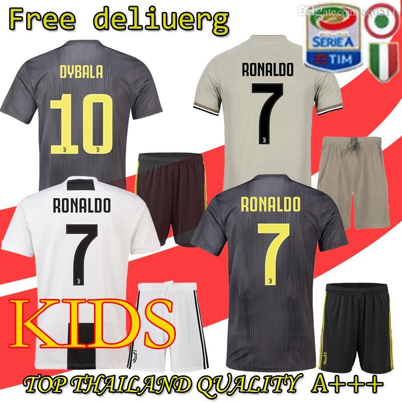 8ff1b3c9b58 2019 Juventus Soccer Jersey Kids Kit 2018 19 Juve RONALDO DYBALA HIGUAIN  DANI ALVES PJANIC Marchisio Child 2018 2019 Football Shirt Uniforms From  Aq0511, ...