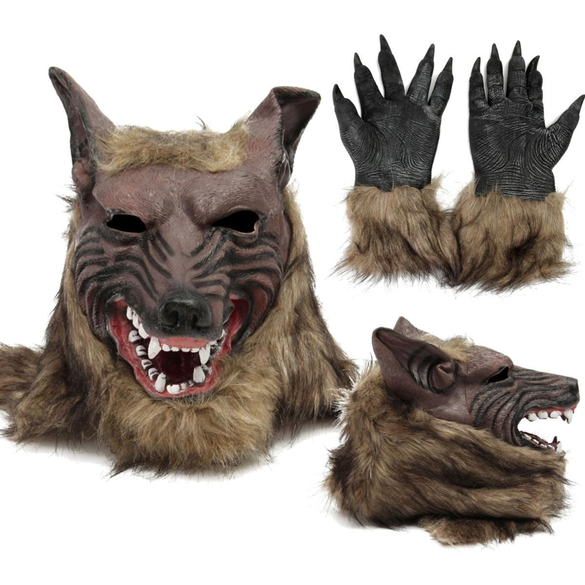 Cosplay Latex Rubber Wolf Head Hair Mask Gloves, Unisex Novelty Animal Full Mask Halloween Role Play Fancy Dress Party Costume