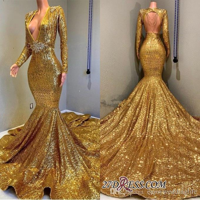 fc19d0afadfe 2019 Gold Sequins Mermaid Prom Dresses Long Sleeve Deep V Neck Open Back  With Tassel Formal Evening Gowns Celebrity Party Dresses BC0577 Pink Prom  Dresses ...