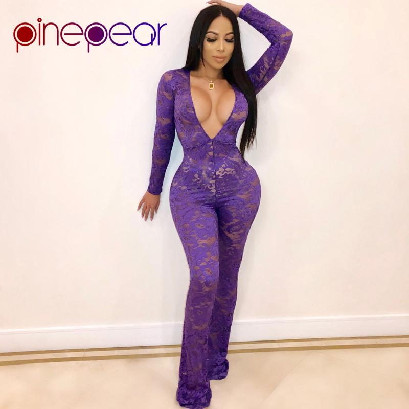 27a7894e034b 2019 PinePear Purple Lace Sexy Deep V Neck Jumpsuit Women 2019 NEW Winter  Long Sleeve See Through Wide Leg Pants Romper Drop Shipping From Pinafore