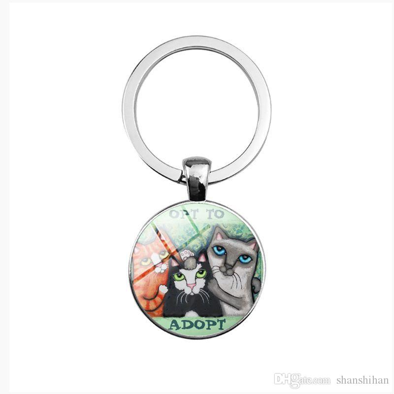 2019 new fashion creative pendant keychain cartoon kitten time gemstone key ring pendant convex round glass key ring
