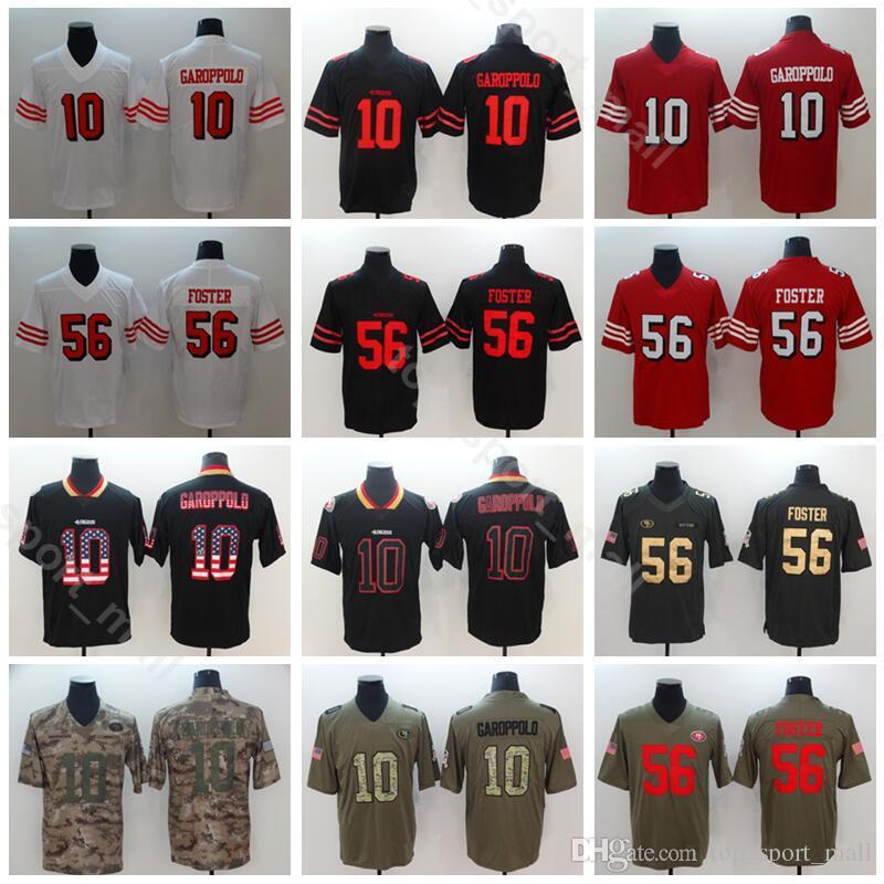 new concept 65622 86b9e San Francisco 49ers Football 10 Jimmy Garoppolo Jersey Men Vapor  Untouchable 56 Reuben Foster Jerseys Red Black White Salute to Service
