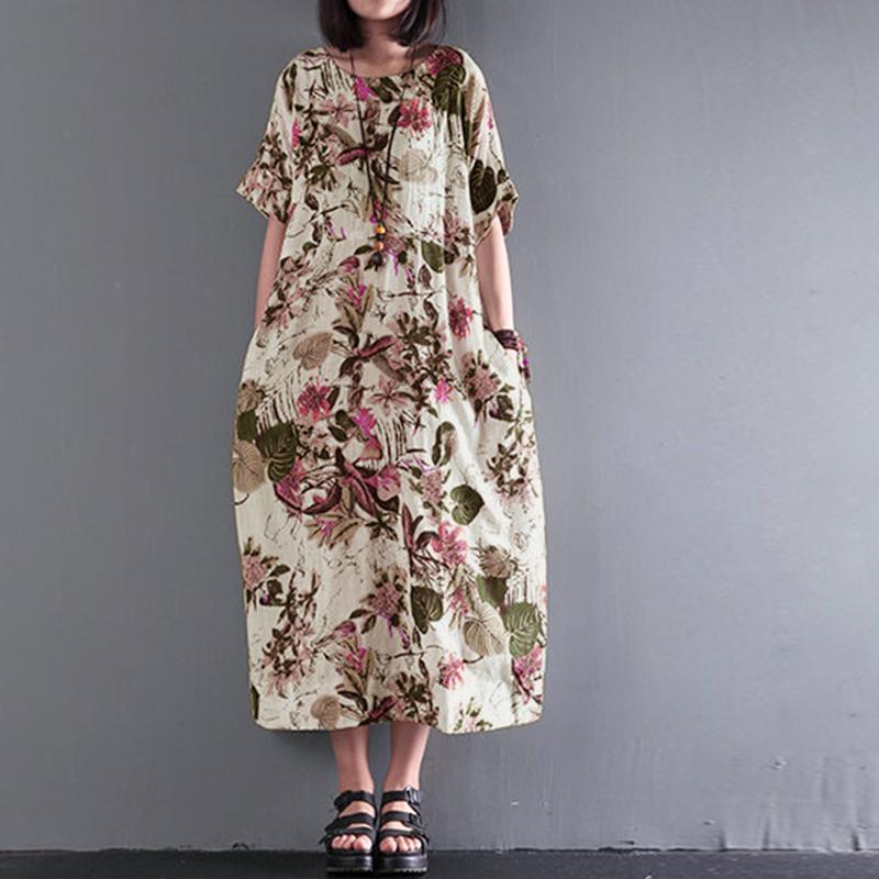 d62943ef99426 2019 wholesale Summer Women Floral Print Boho O Neck Short Sleeve Loose  Party Cotton Linen Midi Vestido Casual Dress Plus