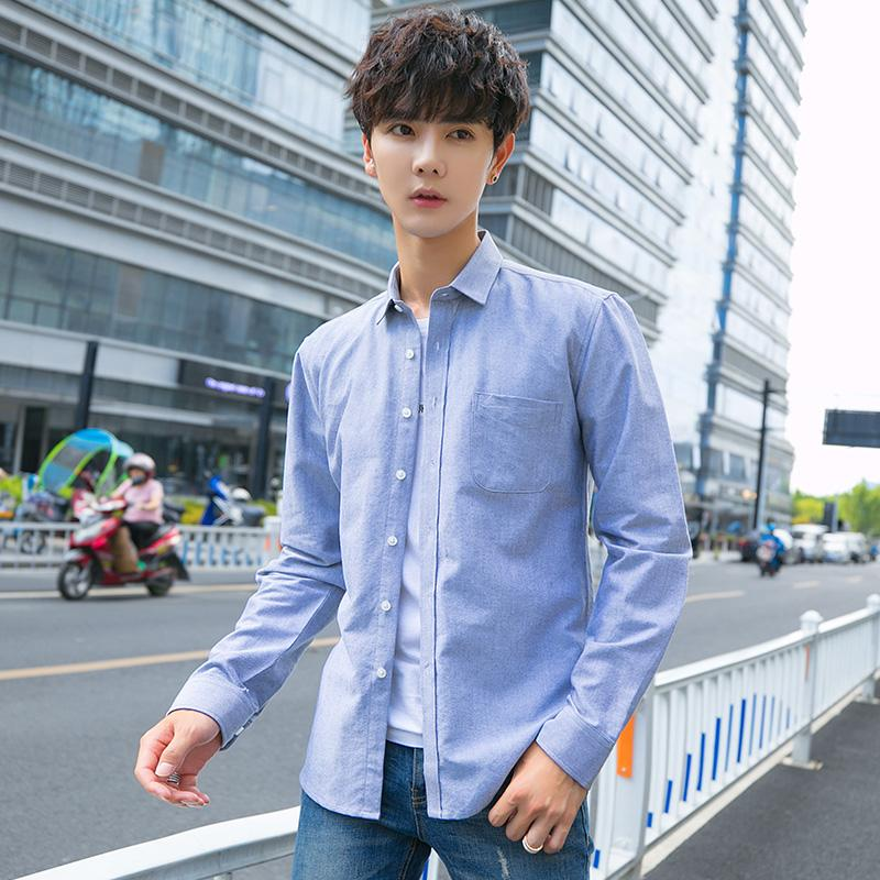Summer Japanese Literature and Art Cotton casual white shirt Men's long sleeves White shirt for young