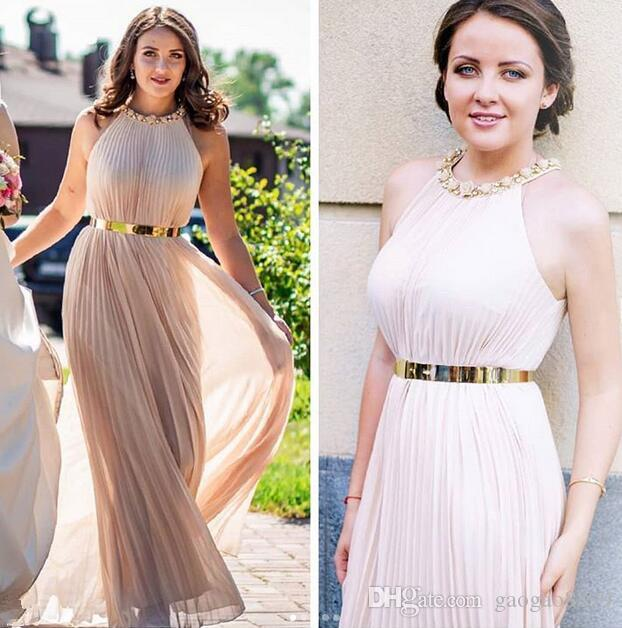 2019 Amazing High Quality Evening Dresses ruched chiffon halter neck with gold sash elegant evening dresses ogstuff cheap bridesmaid dress