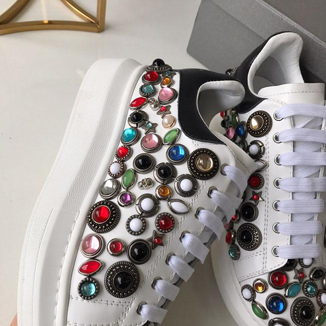 2019Deluxe Quality Designer spring new styles personality water drill small white shoes thick bottom round head leisure sneakers size:35-40