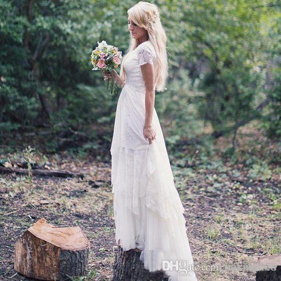 Western Country Wedding Dresses A-Line with Short Sleeve Jewel Lace Floor Length Chiffon Vintage Boho Garden Beach Wedding Bridal Gowns