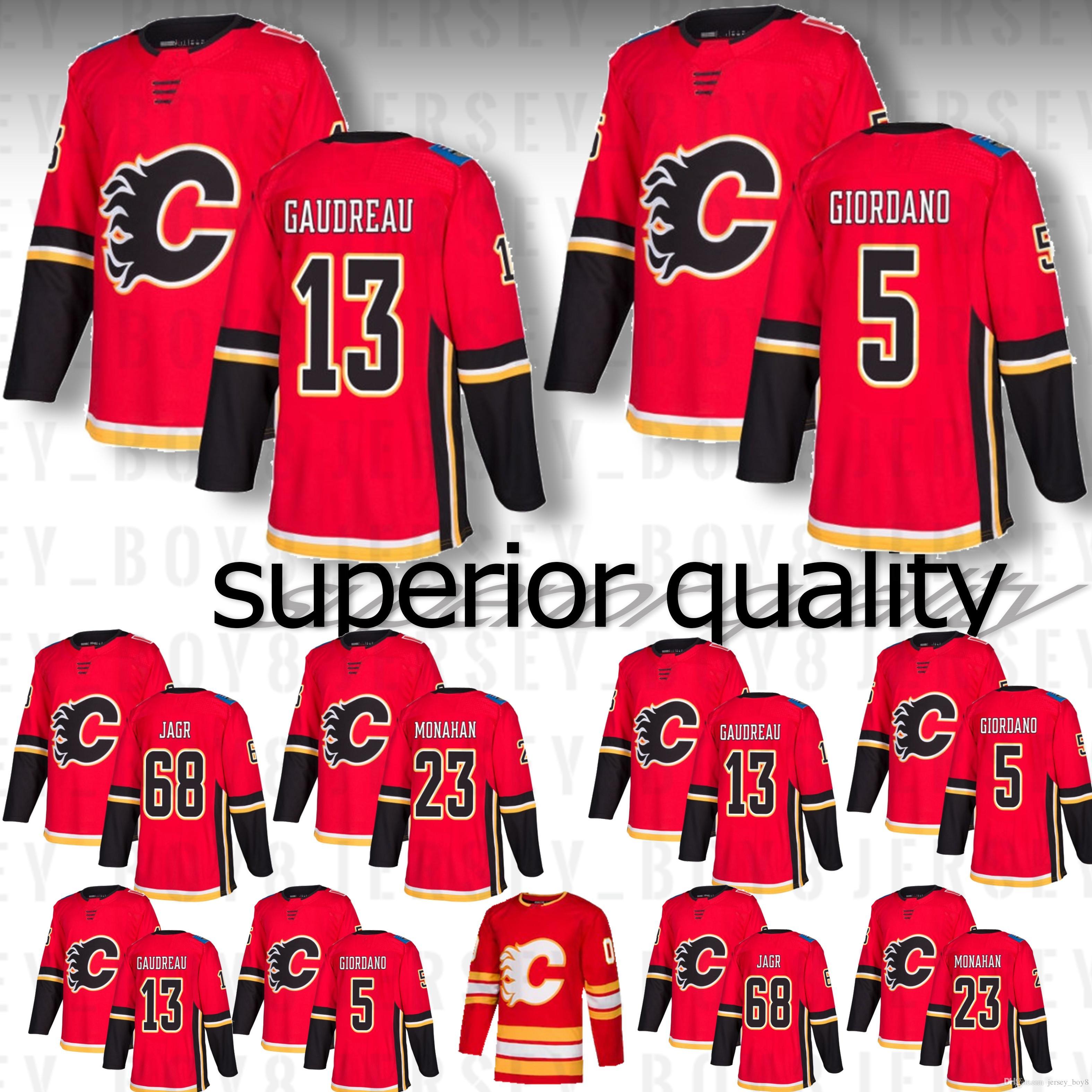 2019 2018 New Calgary Flames Season Jersey 5 Mark Giordano 13 Johnny  Gaudreau 23 Sean Monahan 68 Jaromir Jagr Stitched Hockey Jerseys From  Jersey boy8 59a455d8a