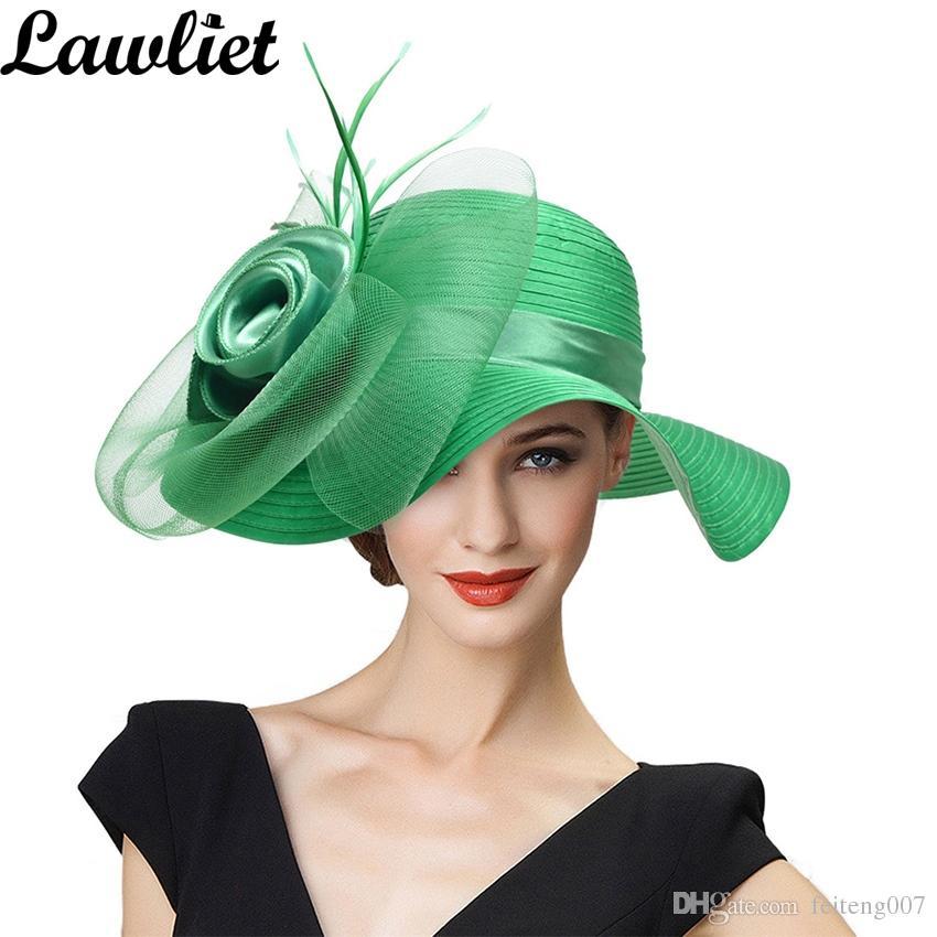 Compre Sombreros De Verano Para Mujeres Sólido Pluma De Satén Floral De Ala  Ancha Sombreros Para El Sol Para Mujer Disquete Para Kentucky Derby Iglesia  Tea ... da395715243
