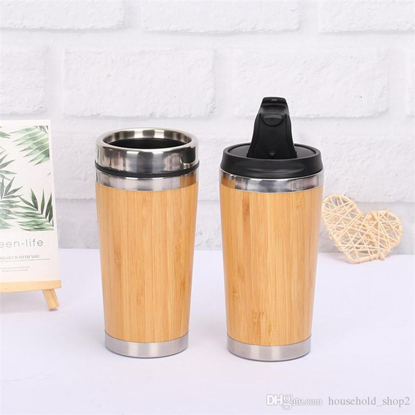 2 Styles 450ml Bamboo Tumbler Stainless Steel Inner Water Bottle Double Wall Vacuum Insulated Car Travel Mug Coffee cup A05