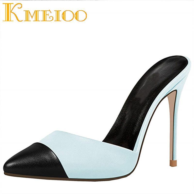huge discount d6995 0bc1c Kmeioo Damen Schuhe Spitz High Heels Slipper Damen Slipper Pumps Kleid  Schuhe 12 CM Sommerschuh US 5-15