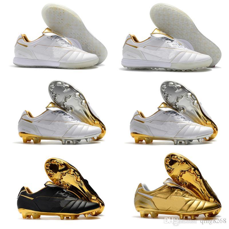 online store 1a56f 46ee2 Original Mens Tiempo Legend VII 7 R10 Elite IC TF FG Ronaldo de Assis  Moreira Low Ankle Soccer Shoes Football Boots Cleats