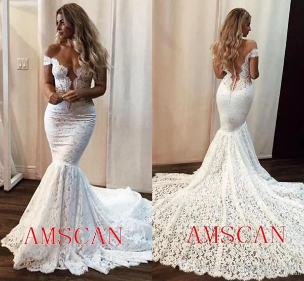 2020 Beach Wedding Dresses Mermaid Off Shoulder Full Lace Sweep Train Bridal Gowns Custom Made Backless Wedding Gowns