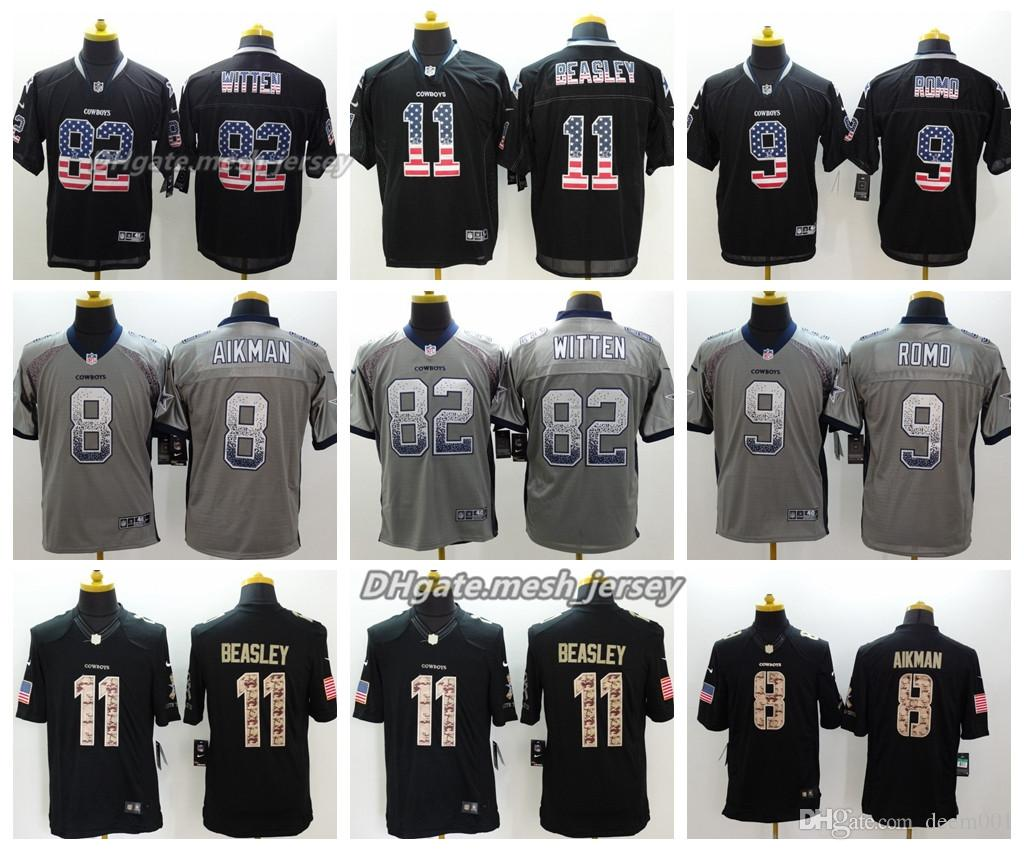 d2381b07d70 Men Dallas Jersey Cowboys 8 Troy Aikman 82 Jason Witten 9 Tony Romo 11 Cole  Beasley Color Rush Football Stitching Jerseys Embroidery Logo UK 2019 From  ...