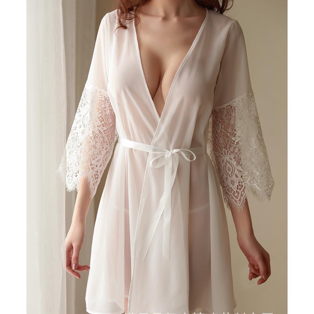 À Blanc Longues Cardigan Ensemble Robe Sexy Robes Taille Jupe Nuit Femmes Manches Maille Accueil De Dentelle Chemise Mode Unique rCoQdWBexE
