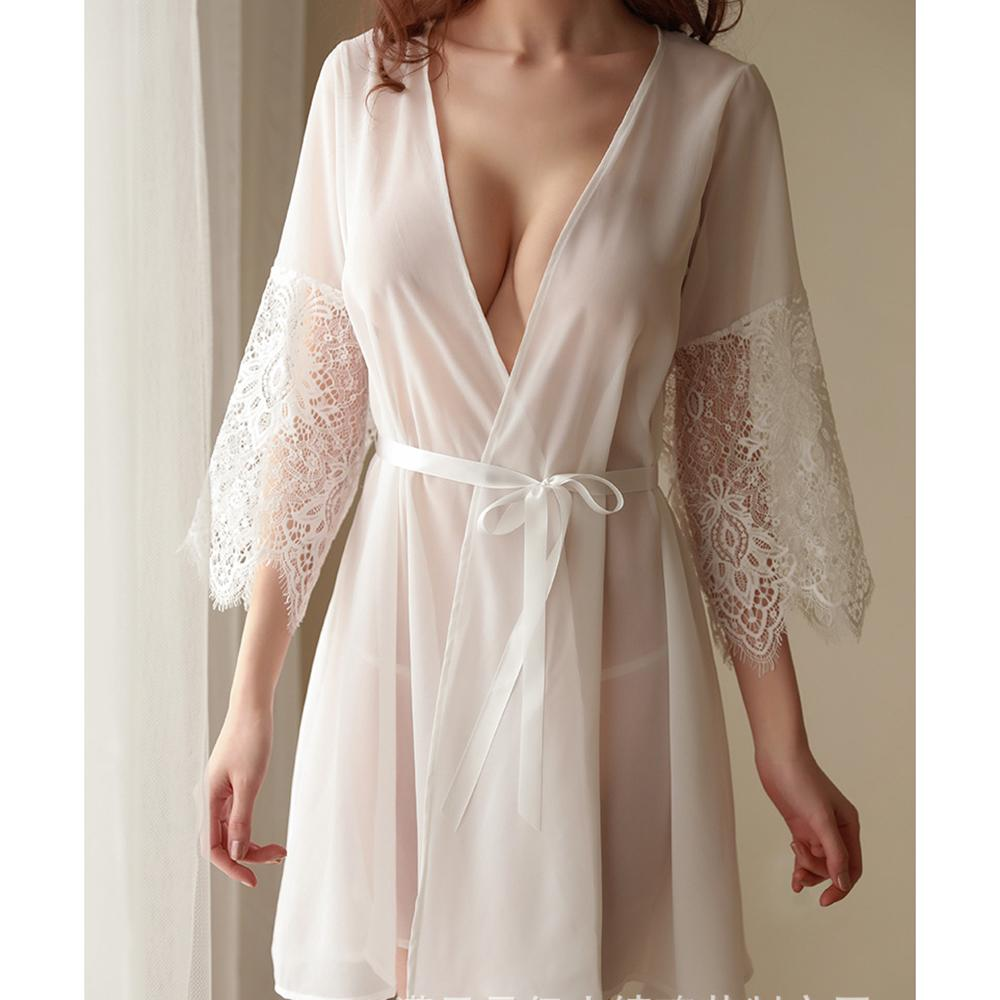 3824bfca0d5 2019 Robes Home Dress White Sexy Mesh Night Skirt Robe Fashion Women Lace  Long Sleeve Cardigan Nightgown Set One Size From Biangye