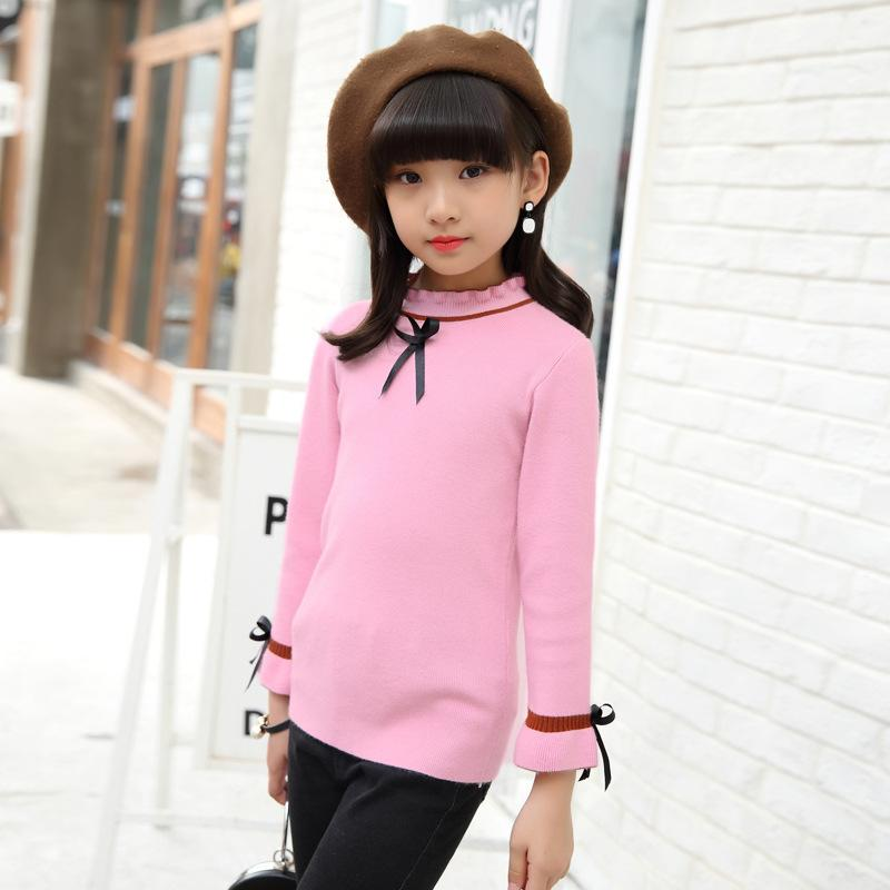 Casual Sweater For Girls Top Tee Baby Clothing Long Sleeve Knitting Autumn Winter Girls Sweater Children Kids Clothes Pullover