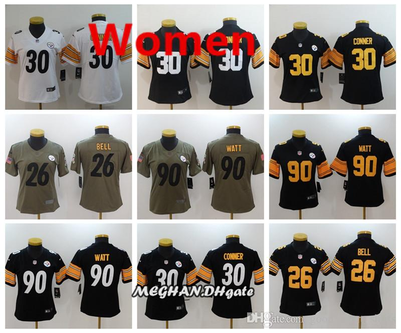 best service 11b16 7e095 Women Steelers American Football Jersey 90 T.J. Watt 30 James Conner 26  Le'Veon Bell Color Rush Stitching Jerseys