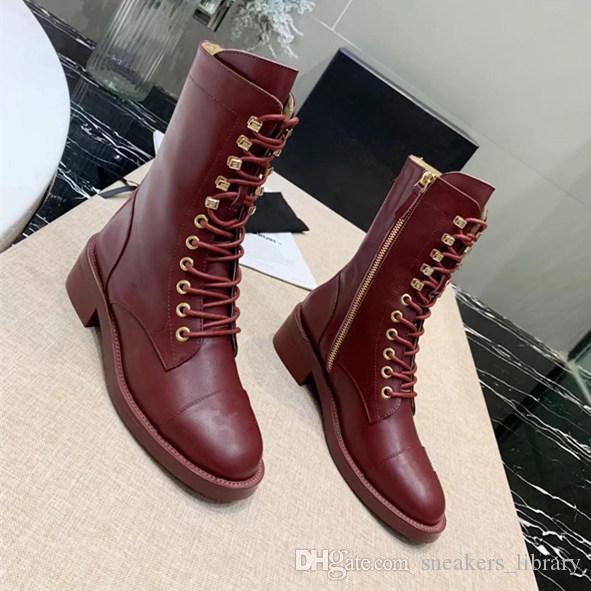 Mulheres Designers de Luxo Sapatos Bota Lace-Ups Calfskin Bota Outono Inverno das Mulheres Sapatos Botas de Couro Com Zíper Martin Bota de Qualidade Superior Com Caixa