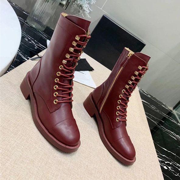 Zapatos de diseñador de lujo para mujer Bota con cordones Bota de piel de becerro Otoño Invierno Zapatos de mujer Botas Cremallera Martin Bota de cuero de calidad superior con caja