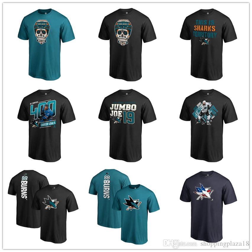 competitive price e51c7 454d5 San Jose Sharks T-Shirt Fanatics Branded Banner Wave 2019 Playoffs short  sleeve shirt Men Hockey Fans Tops Tees Printed Team Brand Logos