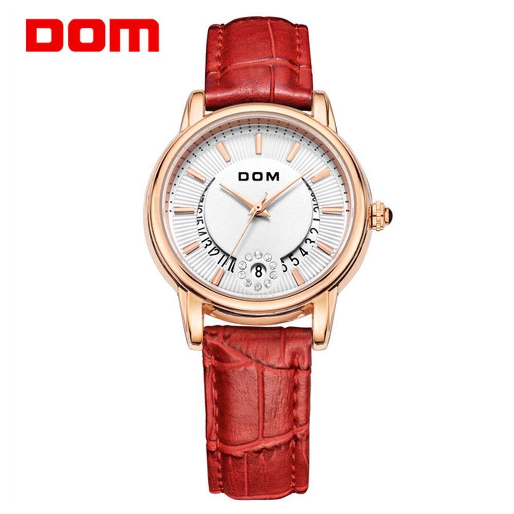 1b0a1816092 Compre DOM Luxo Dimand Mulheres Relógios Calendário Criativo Rosa Pulseira  De Ouro Senhora Menina Relógio De Quartzo Feminino Dress Relógio Relogio  Feminino ...