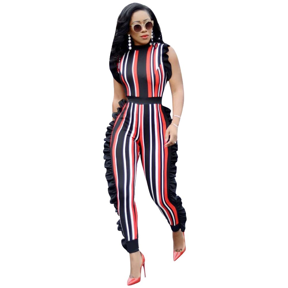 c5b74a00fd20 2019 Plus Size Jumpsuits For Women Sexy 2018 Summer Elegant Sleeveless  Ruffled Rompers Colorful Striped Club Party Casual Body Suits From Bibei02