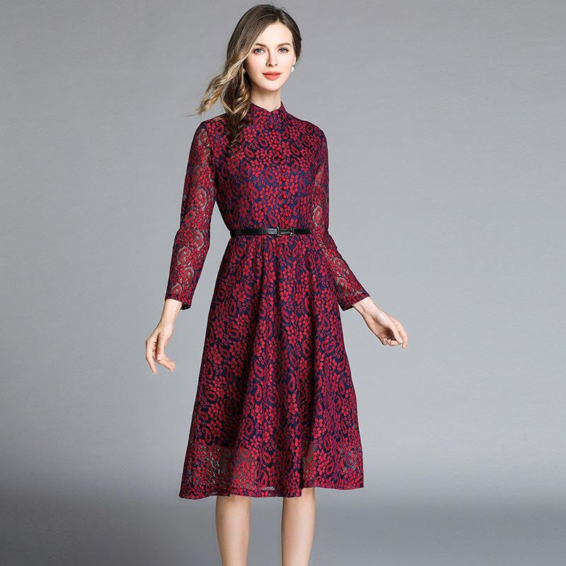 81489f8a44c 2019 2019 Lace Print Floral Long Dress For Women Elegant Party Banquet  Evening Stand Neck Single Breasted High Waist Dresses Plus Dress From  Sinofashion