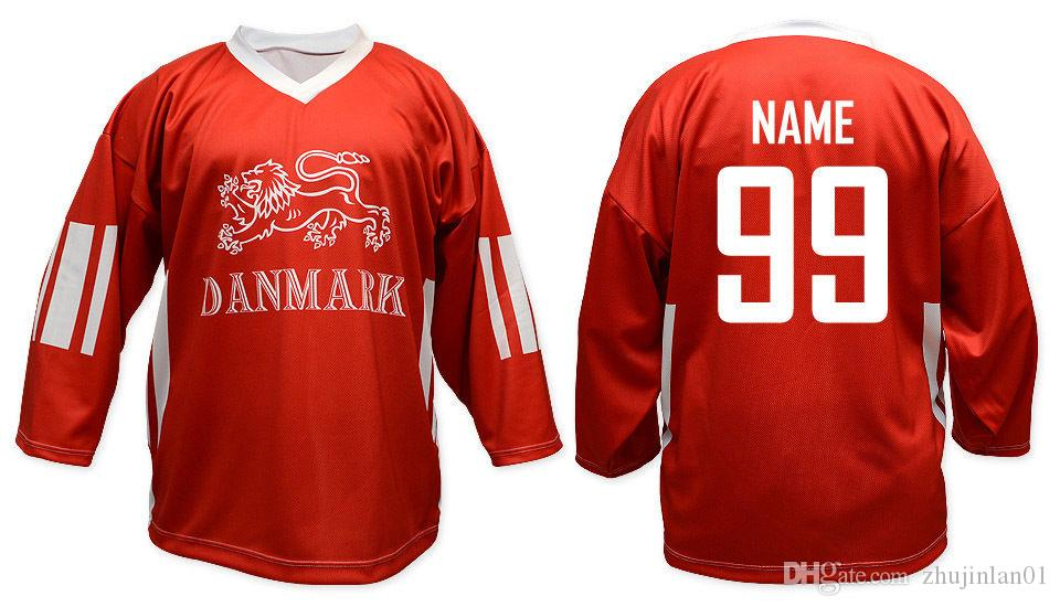 97000e77f6752 Team Denmark RED Ice Hockey Jersey Embroider stitching Customized Any Name  And Number Jerseys