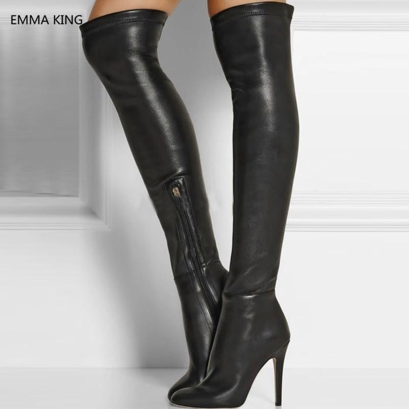 45107dddf92 New Black Stretch Women Winter Thigh High Boots Leather Round Toe High  Heels Shoes Stilettos Sexy Ladies Over The Knee Long Boot