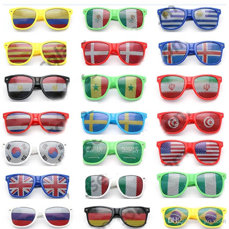 36 Style Bar Party Fans Sunglasses For National Flag 2018 World Cup Football Festival Fans Sunglasses Party Favor Gifts DHL SHip FA2265